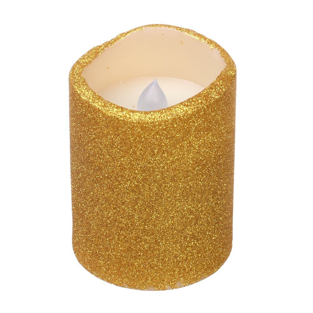 Dfl 3x4 inch flameless real wax led pillar candle with timer with goldenrod color glitter powder