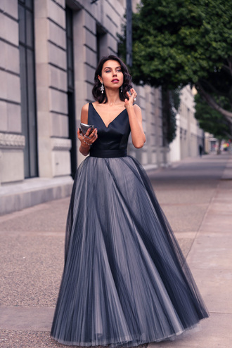 viva luxury blogger gown tulle dress holiday dress prom dress blue dress dress bag jewels
