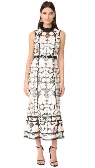 gown sleeveless floral white black dress