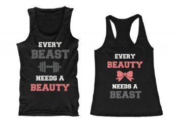 Amazon.com: beauty and beast need each other his and her matching tank tops for couples: clothing