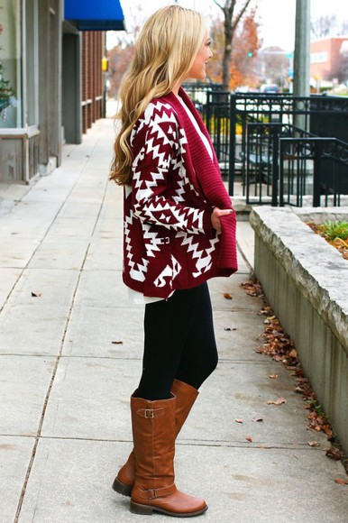 geometric cardigan red cardigan burgundy tribal cardigan southwestern tribal pattern dark red Marri maroon/burgundy brown leather boots