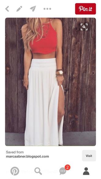 skirt white maxi slit