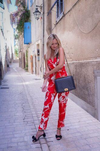 jumpsuit tumblr red jumpsuits sandals mid heel sandals bag black bag shoes