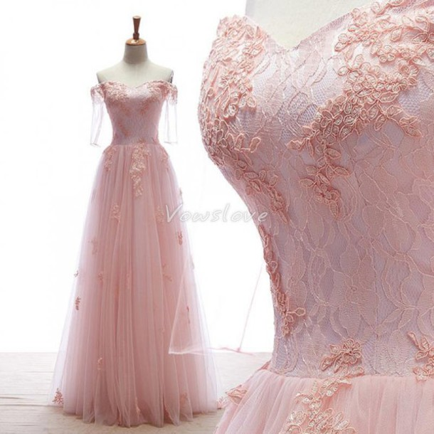 Dress Vowslove Off The Shoulder Pink Wedding