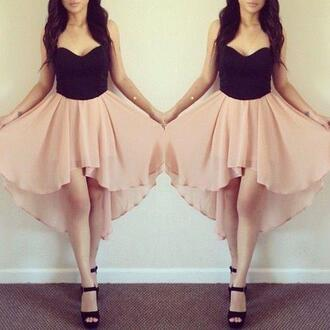 dress peach and black peach dress high heels high-low dresses high low shoes bag skirt black beandeau pink dress pink rose flattering silver shoes high low dress summer dress elegance girly crop tops tank top black and pink prom top foreign forever 21