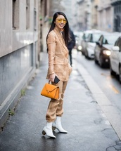 bag,orange bag,boots,white boots,ankle boots,pants,nude pants,blazer,nude blazer,sunglasses