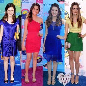 dress austin and ally blue skirt silk silk dress blue dress red dress pink dress purse heels laura marano