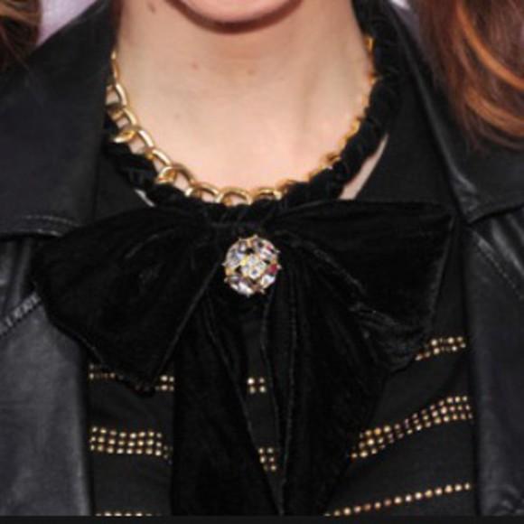jewels lindsey stirling's black felt bow necklace