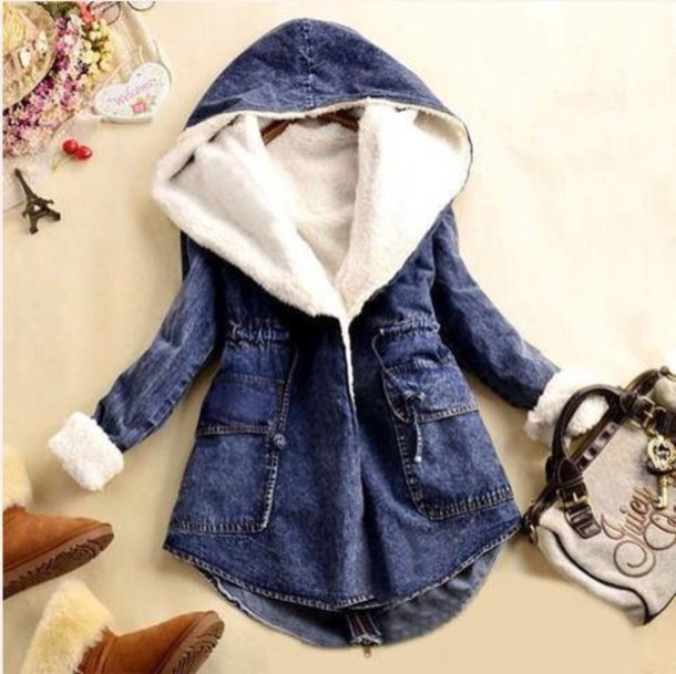 Jacket: denim, blue, jeans, denim jacket, cozy, fur, cotton ...