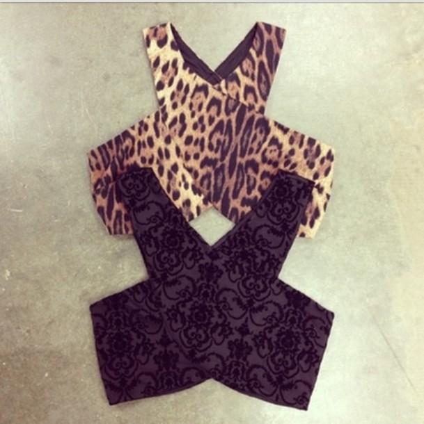 733b4d3ba86d78 shirt leopard print cut out top black and cheetah crop tops printed crop  top tank top