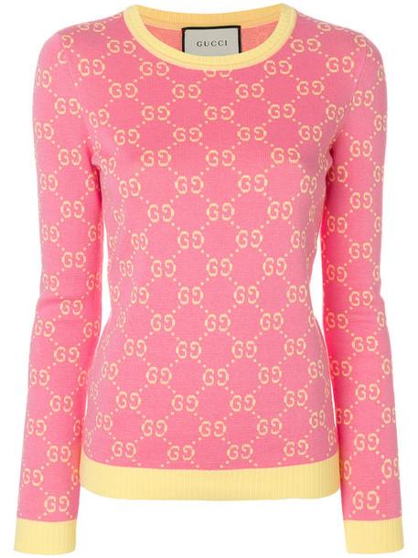 gucci jumper women jacquard cotton purple pink sweater