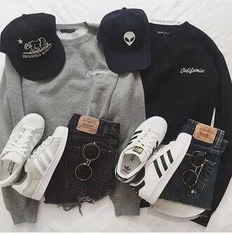 shorts sweatshirt hat brandy melville pacsun summer fall outfits black grey sweater adidas white california sunglasses shades fashion fashion toast fashion vibes ootd ootdfash denim shorts black shorts