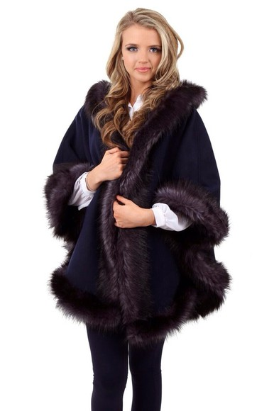 coat cape lucy meck fur navy jacket