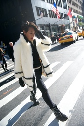 where did u get that,blogger,jeans,bag,make-up,belt,combat boots,fur coat,white fur coat,coat,white coat,winter coat,black jeans,black ripped jeans,ripped jeans,leather gloves,gloves