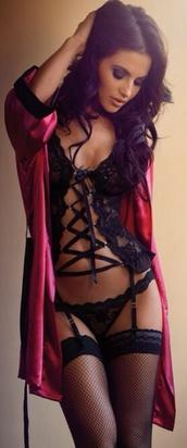 underwear,lingerie set,lingerie,black,pink,corset top,knee high socks