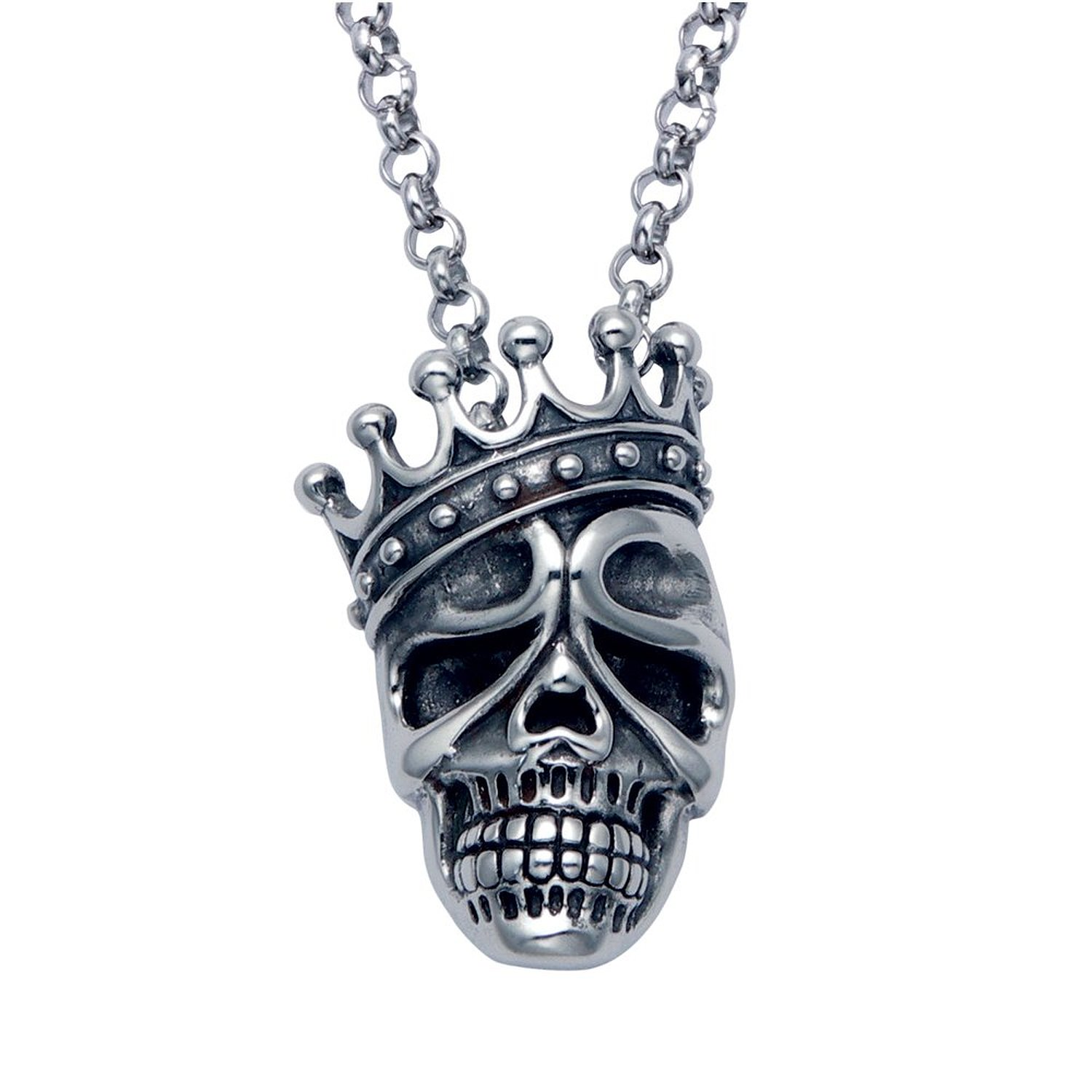 "Amazon.com: stainless steel skull king crown pendant & 24"" rollo chain: pendant necklaces: jewelry"