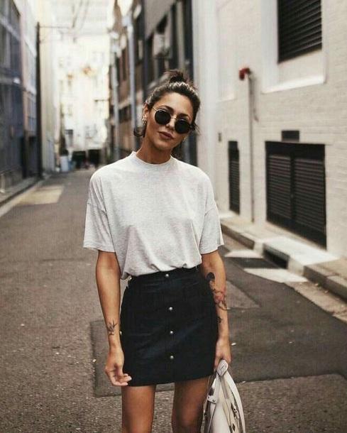 Shirt White Shirt T Shirt Skirt Black Skirt White T