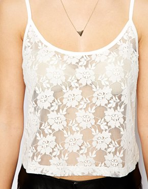 ASOS | ASOS Cropped Cami Top in Lace at ASOS