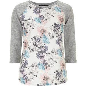 Dorothy Perkins Mint Floral Front Sweat