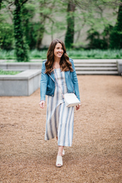 sequins and stripes,blogger,jumpsuit,jacket,bag,leather jacket,blue jacket,stripes,jumper,white bag,white heels