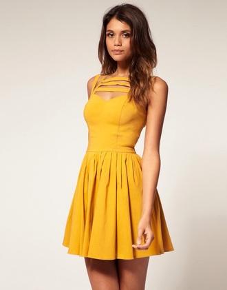 dress asos mustard