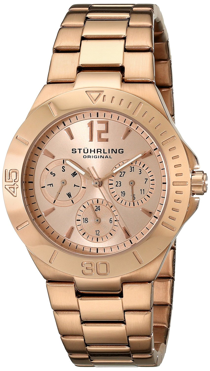 Amazon.com: stuhrling original women's 558.03 symphony regent capital quartz day and date rose tone bracelet watch: stuhrling: watches