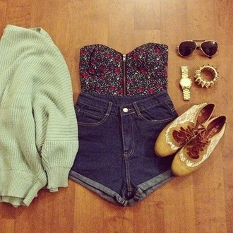 shirt bustier floral shorts mint cute summer high waisted oversized sweater sweater shoes top tank top t-shirt