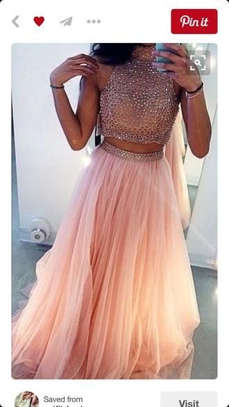 dress prom prom dress glitter pink two-piece two piece dress set