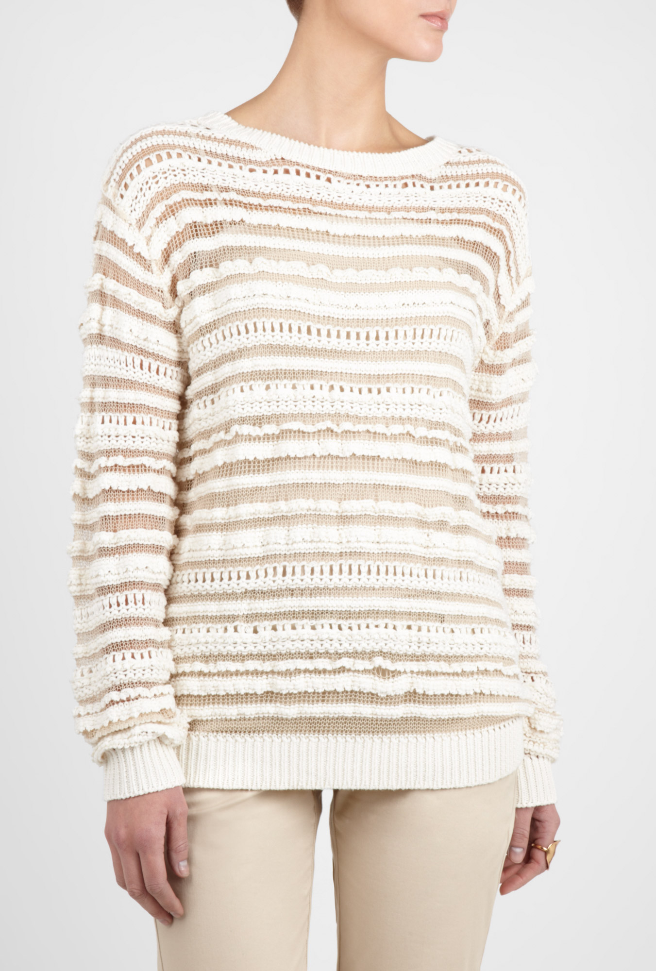 Bruno Athe | White Loose Open Knit Sweater by Vanessa Bruno Athe