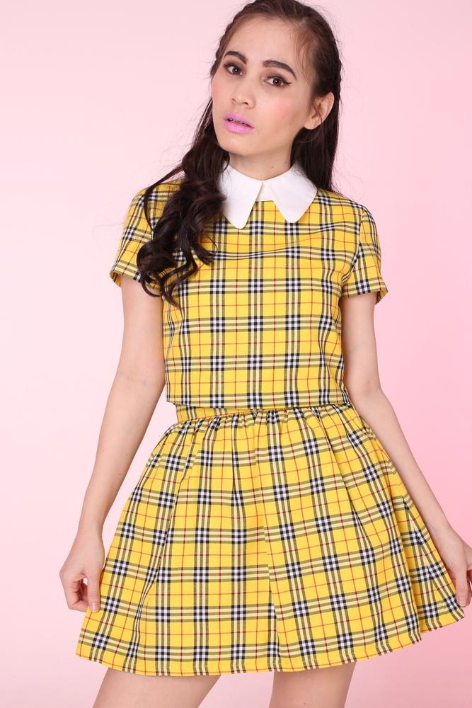 Yellow tartan clueless set (top and skirt)