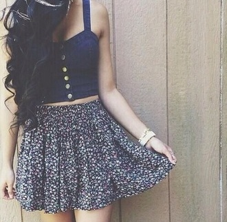 skirt shirt denim urban outfitters brandy melville free people hollister floral flowers