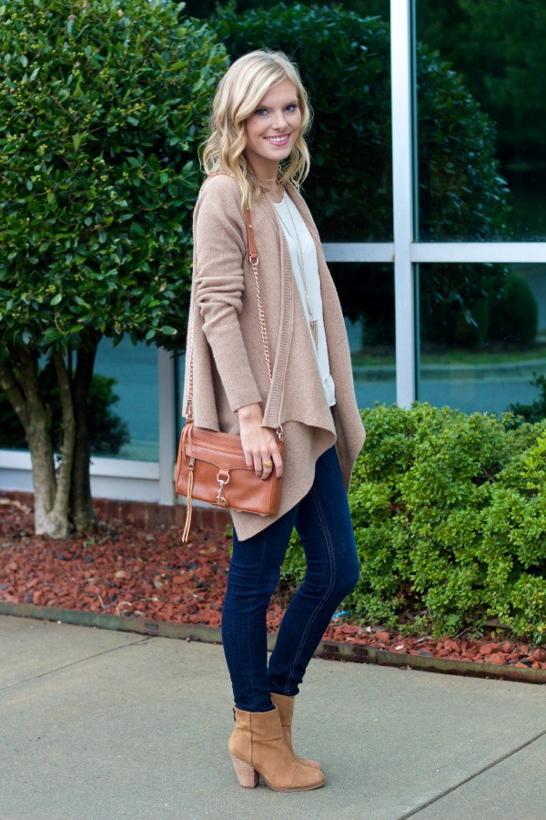 life with emily blogger cardigan top bag camel cardigan leather bag denim jeans blue jeans boots ankle boots suede boots suede
