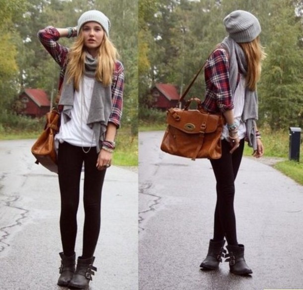 Bag Bad Flannel Shoes Boots Cute Winter Outfits Hat