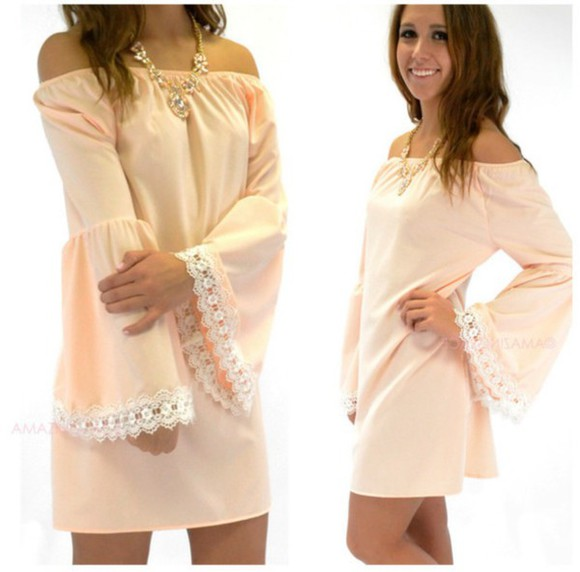 dress spring off the shoulder off shoulder dress bell sleeves peach Crochet trim Peach dress