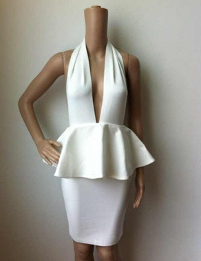 Sexy Halter Ruffles Peplum Backless Bandage Dress