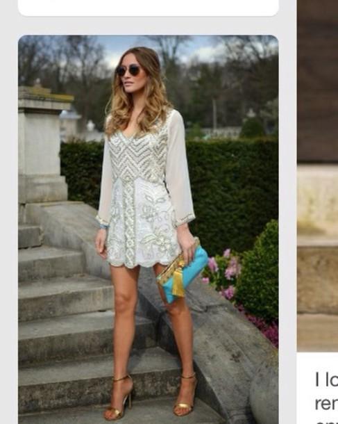 dress white dress bachelorette sheer sparkle vintage dress sheer sleeves full beading wedding clothes cream