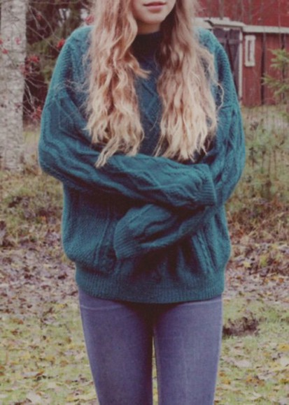 green sweater vintage