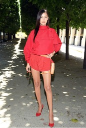 shoes,sweater dress,sweater,bella hadid,model off-duty,red,red dress,celebrity,shorts,romper