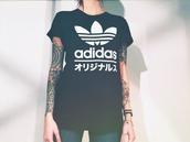 t-shirt,adidas,adidas shirt,adidas wear,sporty,black,blackshirt,black and white,tumblr,tumblr shirt,cool,cool shirt,pale,japanese writing,shirt,japanese,black t-shirt