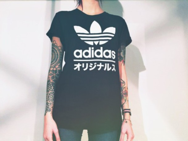 t-shirt adidas adidas shirt adidas wear sporty black blackshirt black and white tumblr tumblr shirt cool cool shirt pale japanese writing shirt japanese black t-shirt