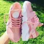 shoes,jklcustoms,huarache,nike air huaraches,nike,nike shoes,nike sneakers,nike air,sneakers,pastel sneakers,pink sneakers,pastel pink,blush pink,blush,customized