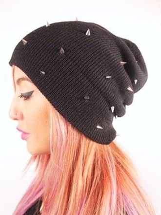 hat black studded beanie