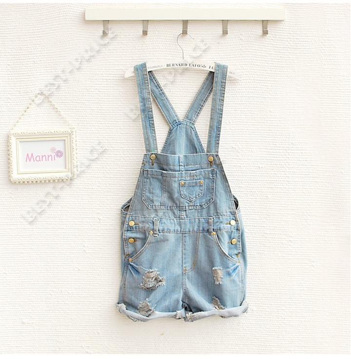 Womens Girls Washed Casual Hole Jeans Denim Jumpsuit Romper Overall Shorts | eBay