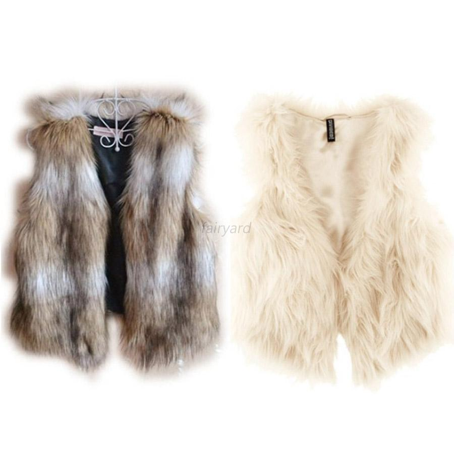 Women Winter Short Vest Sleeveless Faux Fur Jacket Waistcoat Coat Outwear S-XXL