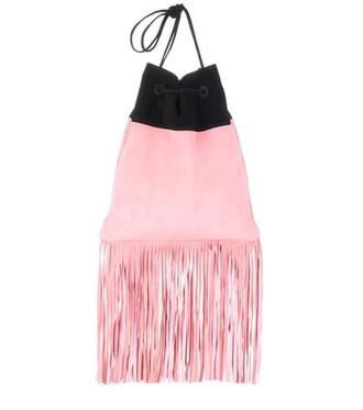 bag shoulder bag suede pink