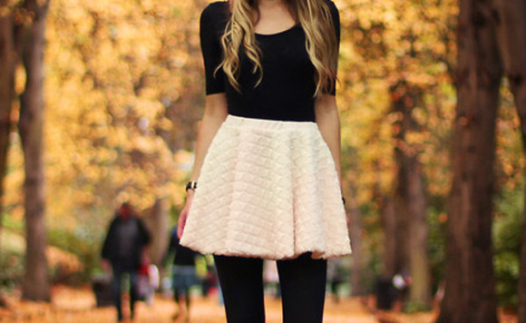 style white skirt blouse black shirt black leggings skirt winter outfits shirt black baby pink white girl fashion hot quilted fall outfits