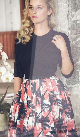 skirt midi skirt print printed skirt sweater top reese witherspoon editorial spring outfits