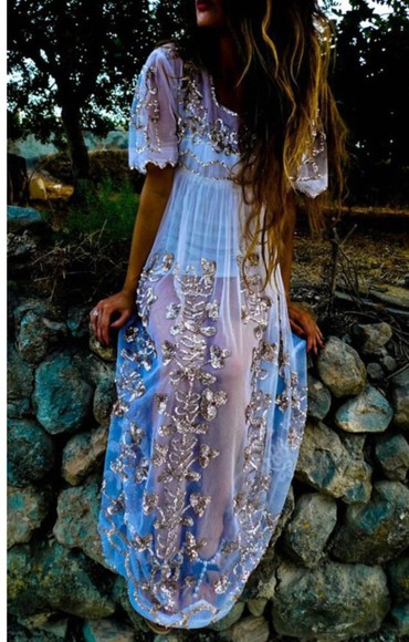 embroidered dress sheer boho gold hippy white gypsy maxi dress