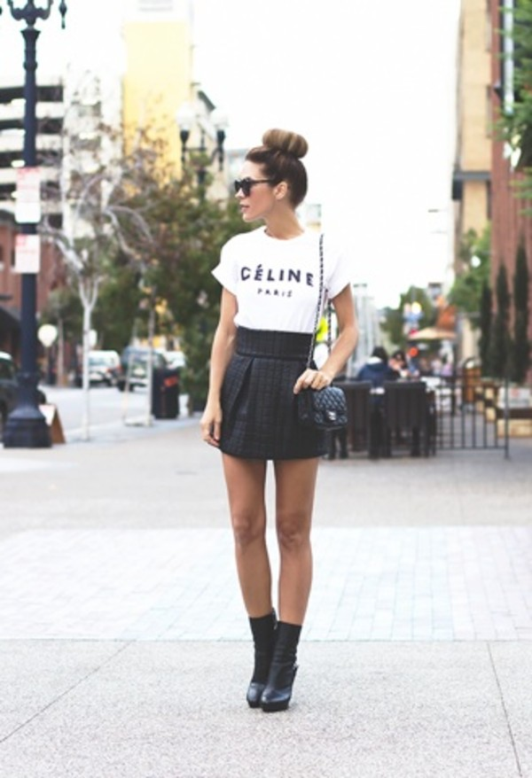 t-shirt white cool shirt skirt celine paris shirt
