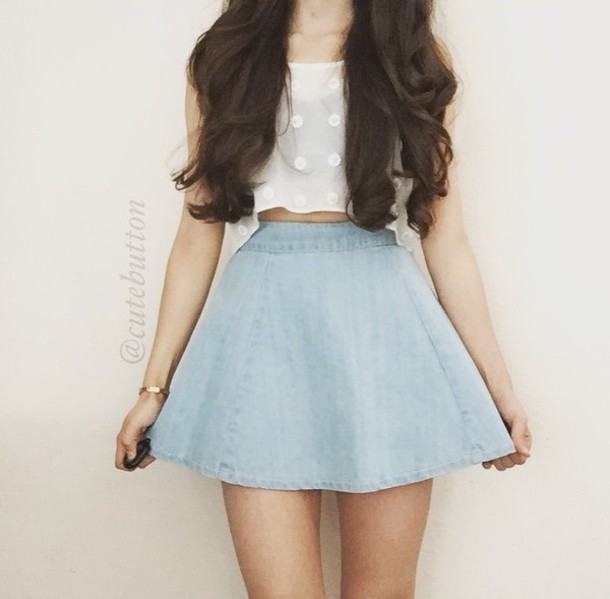 top skirt white white top denim skirt blue blue